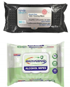 alchohol cleansing wipes