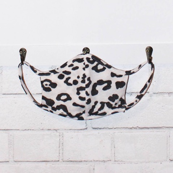 white leopard print face mask